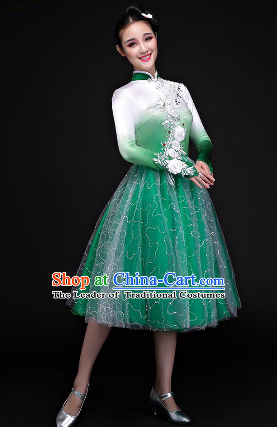Traditional Chinese Yangge Fan Dancing Costume Modern Dance Dress Clothing