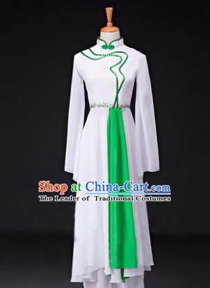 Traditional Chinese Classical Lotus Dance Costume, China Yangko Dance Green Clothing for Women