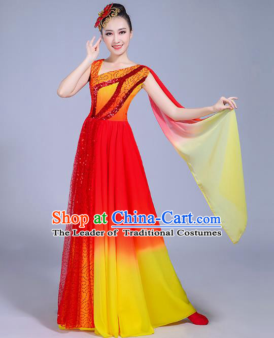 Traditional Chinese Modern Dance Opening Dance Dress Clothing, China Folk Dance Lotus Dance Costume for Women