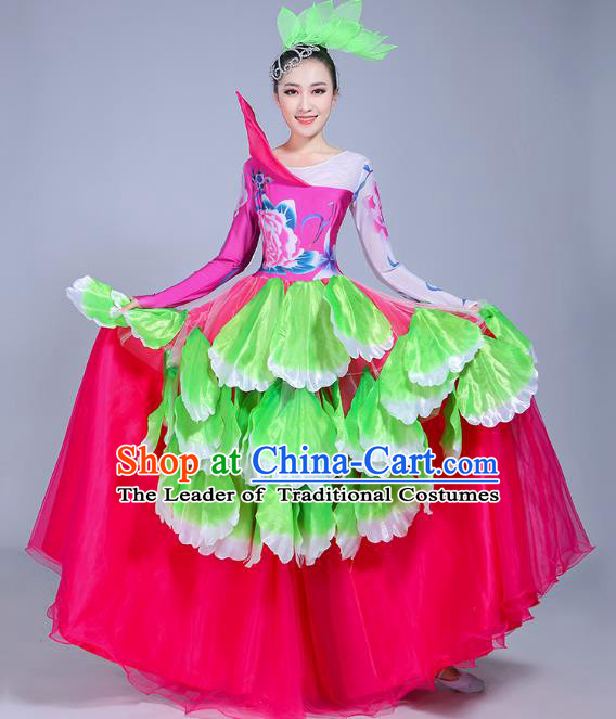 Traditional Chinese Modern Dance Opening Dance Flowers Dress Clothing, China Folk Dance Lotus Dance Costume for Women