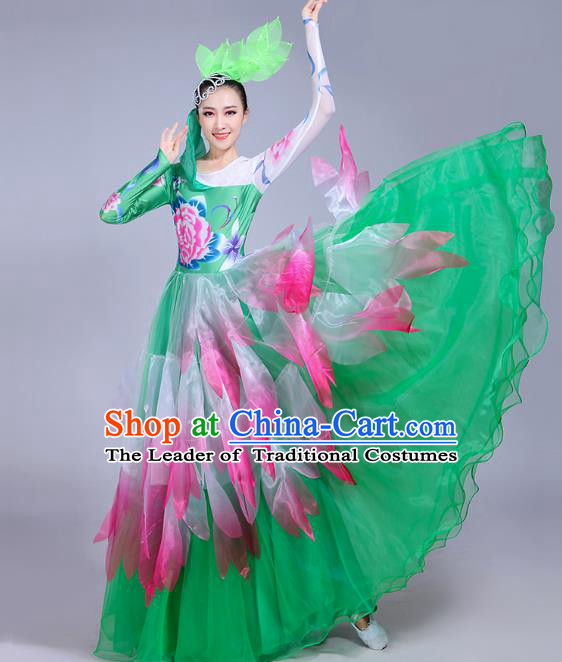 Traditional Chinese Modern Dance Opening Dance Flowers Green Dress Clothing, China Folk Dance Lotus Dance Costume for Women