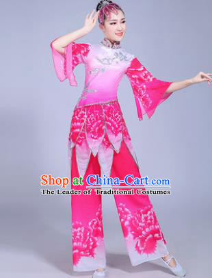 Traditional Chinese Classical Umbrella Dance Costume, China Yangko Folk Dance Pink Clothing for Women