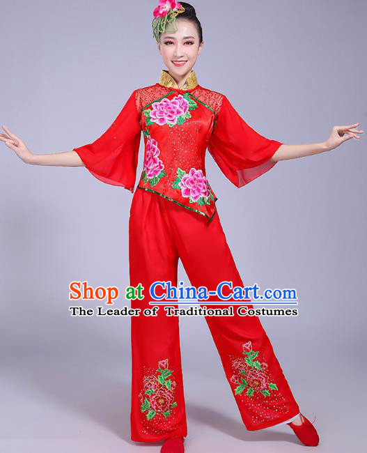 Traditional Chinese Classical Fan Dance Embroidered Costume, China Yangko Folk Dance Red Clothing for Women