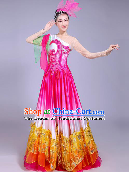 Traditional Chinese Modern Dance Opening Dance Big Swing Dress Clothing, China Folk Dance Lotus Dance Costume for Women