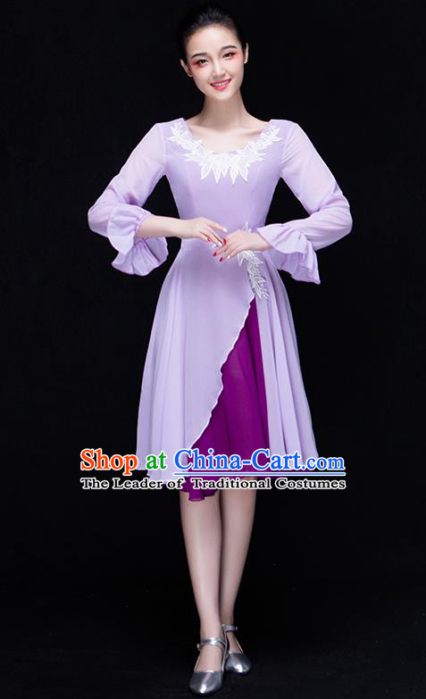 Traditional Chinese Modern Dance Fan Dance Costume, Opening Dance Chorus Singing Group Lilac Dress Clothing for Women