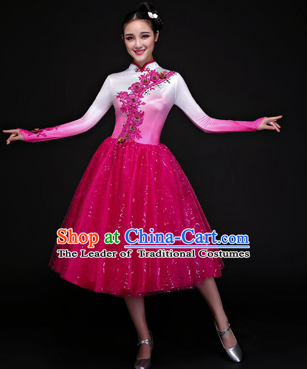 Traditional Chinese Modern Dance Fan Dance Costume, Opening Dance Chorus Bubble Dress Clothing for Women