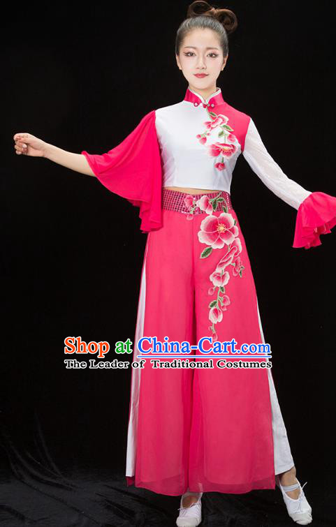 Traditional Chinese Classical Dance Umbrella Dance Embroidered Costume, China Folk Dance Yangko Pink Clothing for Women