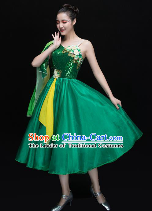 Traditional Chinese Modern Dance Fan Dance Costume, Opening Dance Chorus Green Bubble Dress Clothing for Women