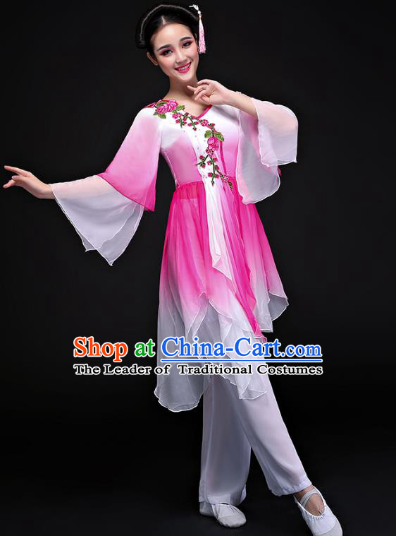Traditional Chinese Classical Yangge Fan Dance Pink Costume, China Yangko Folk Dance Clothing for Women