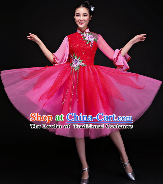 Traditional Chinese Modern Dance Rosy Cheongsam, Opening Dance Chorus Dress Clothing for Women