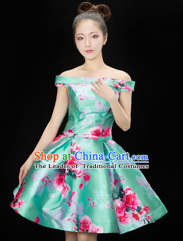 Traditional Chinese Modern Dance Costume, Opening Dance Chorus Green Bubble Dress Clothing for Women