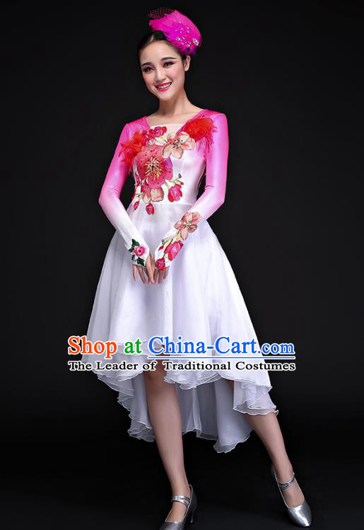 Traditional Chinese Modern Dance Embroidered Pink Costume, Opening Dance Chorus Dress Clothing for Women