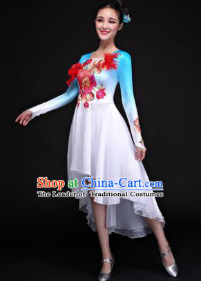 Traditional Chinese Modern Dance Embroidered Blue Costume, Opening Dance Chorus Dress Clothing for Women