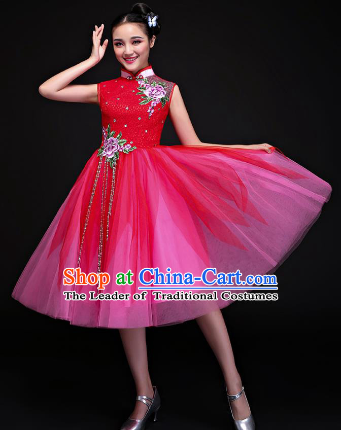 Traditional Chinese Modern Dance Embroidered Red Bubble Dress, Opening Dance Chorus Clothing for Women