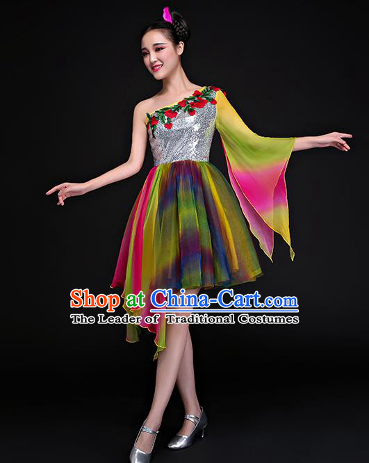 Traditional Chinese Modern Dance Bubble Dress, Opening Dance Chorus Clothing for Women