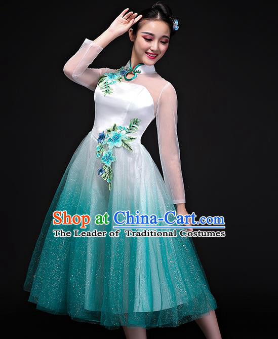 Traditional Chinese Modern Dance Green Bubble Dress, Opening Dance Chorus Clothing for Women