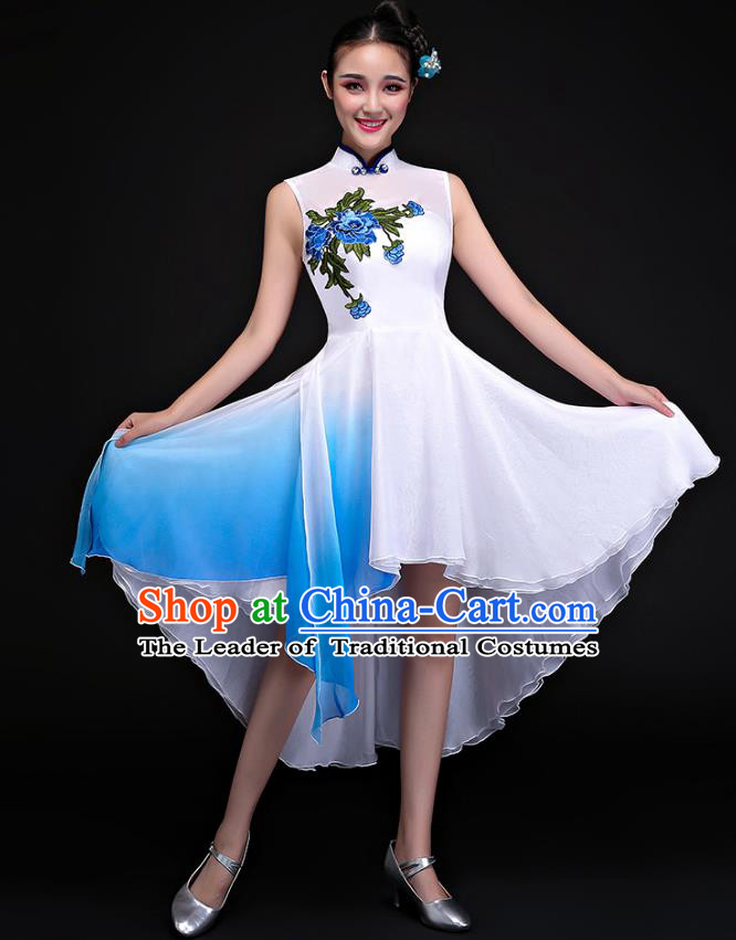 Traditional Chinese Classical Fan Dance Embroidered White Cheongsam Dress, China Yangko Folk Dance Clothing for Women