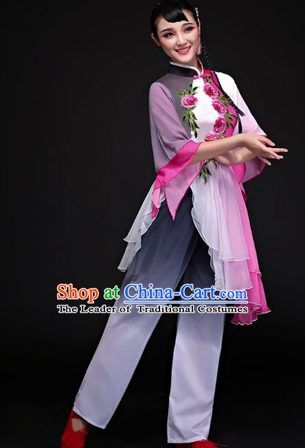 Traditional Chinese Classical Fan Dance Yangge Uniform, China Yangko Folk Dance Clothing for Women