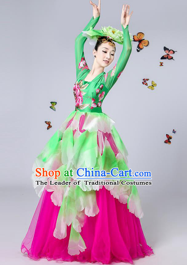 Traditional Chinese Modern Dance Opening Dance Embroidered Green Bubble Dress Clothing for Women