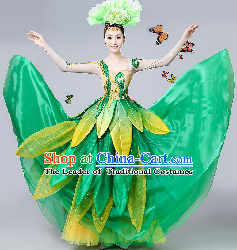 Traditional Chinese Modern Dance Opening Dance Green Paillette Bubble Dress Clothing for Women