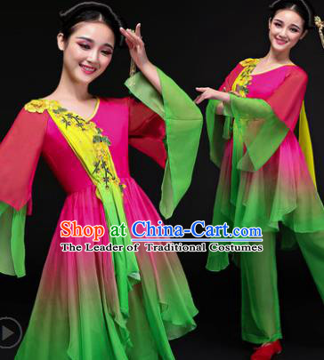 Traditional Chinese Classical Yangge Dance Costume, China Yangko Folk Dance Rosy Clothing for Women