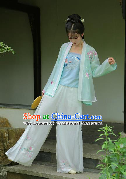 Traditional Chinese Song Dynasty Young Lady Hanfu Costume Embroidered Blouse and Pants for Women