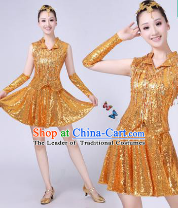 Traditional Chinese Modern Dance Opening Dance Jazz Dance Golden Uniform Folk Dance Chorus Costume for Women