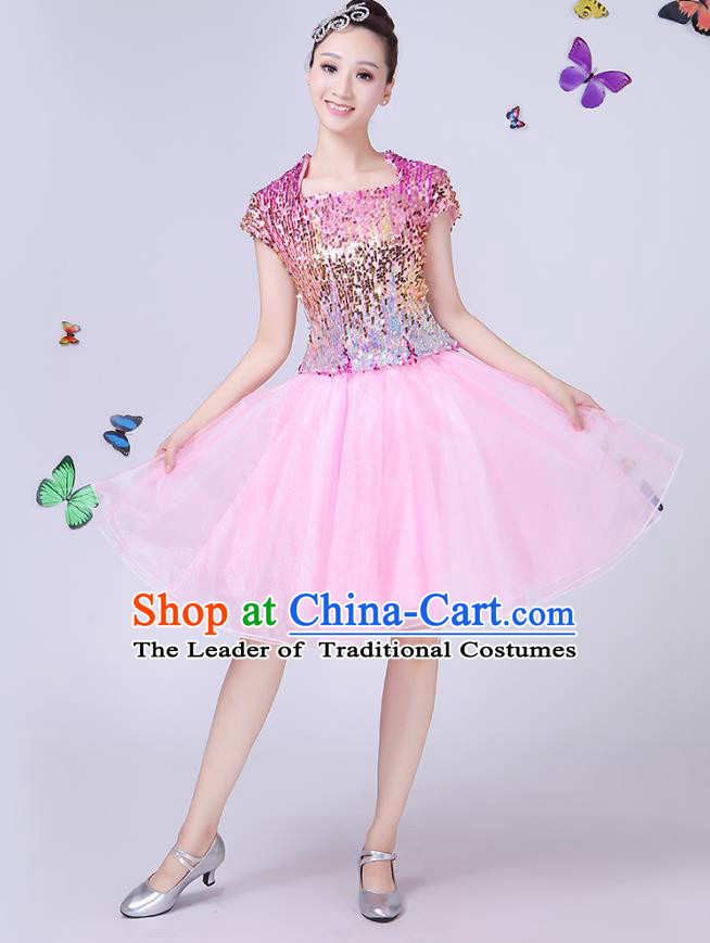 Traditional Chinese Modern Dance Opening Dance Jazz Dance Pink Dress Folk Dance Chorus Costume for Women