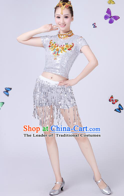 Traditional Chinese Modern Dance Opening Dance Jazz Dance White Paillette Uniform Folk Dance Chorus Costume for Women