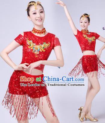 Traditional Chinese Modern Dance Opening Dance Jazz Dance Red Paillette Uniform Folk Dance Chorus Costume for Women