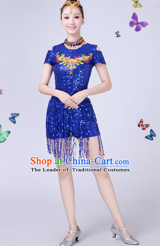 Traditional Chinese Modern Dance Opening Dance Jazz Dance Blue Paillette Uniform Folk Dance Chorus Costume for Women
