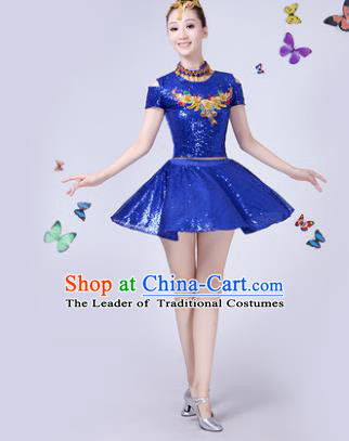 Traditional Chinese Modern Dance Opening Dance Jazz Dance Blue Paillette Clothing Folk Dance Chorus Costume for Women