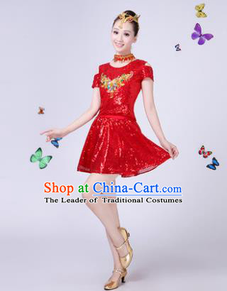 Traditional Chinese Modern Dance Opening Dance Jazz Dance Red Paillette Clothing Folk Dance Chorus Costume for Women