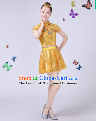 Traditional Chinese Modern Dance Opening Dance Jazz Dance Yellow Paillette Clothing Folk Dance Chorus Costume for Women