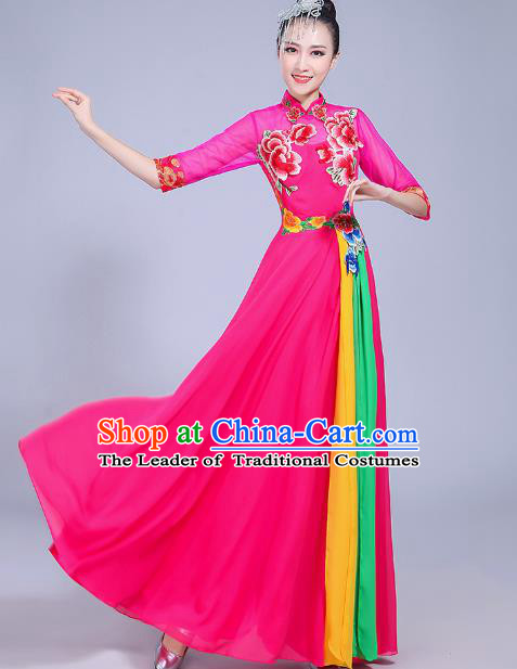 Traditional Chinese Modern Dance Opening Dance Clothing Folk Dance Chorus Rosy Dress Costume for Women