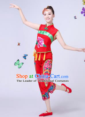 Traditional Chinese Classical Umbrella Dance Costume, China Yangko Folk Dance Yangge Peony Red Clothing for Women