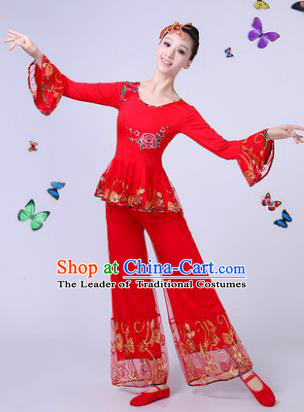 Traditional Chinese Classical Umbrella Dance Embroidered Lace Red Costume, China Yangko Folk Fan Dance Clothing for Women
