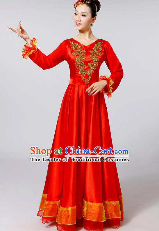 Traditional Chinese Modern Dance Opening Dance Clothing Chorus Red Dress Costume for Women