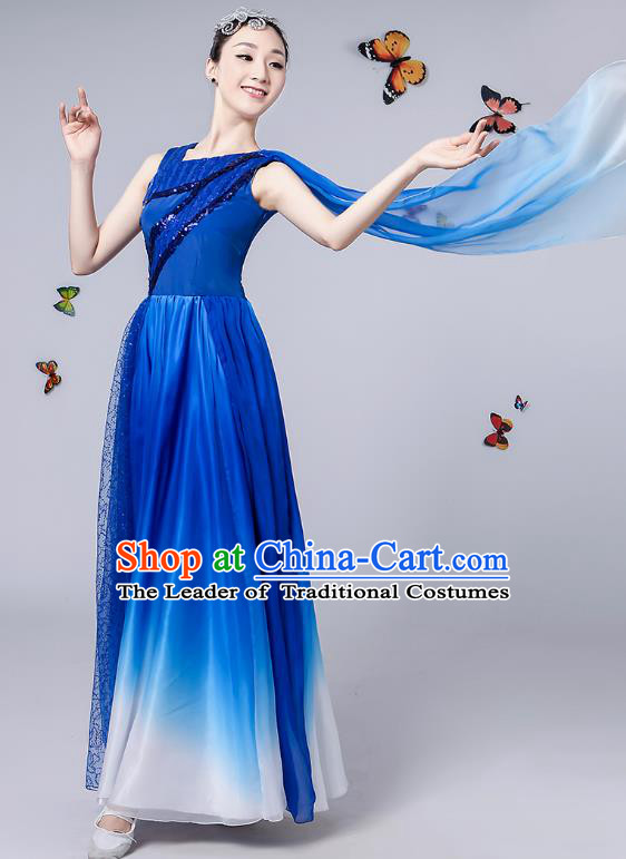 Traditional Chinese Modern Dance Opening Dance Clothing Chorus Blue Dress Costume for Women