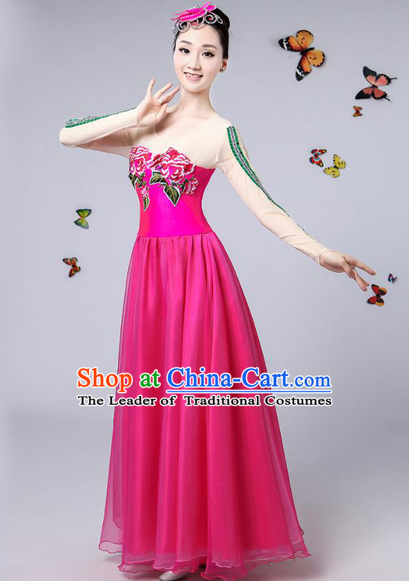 Traditional Chinese Modern Dance Opening Dance Clothing Chorus Rosy Big Swing Dress Costume for Women