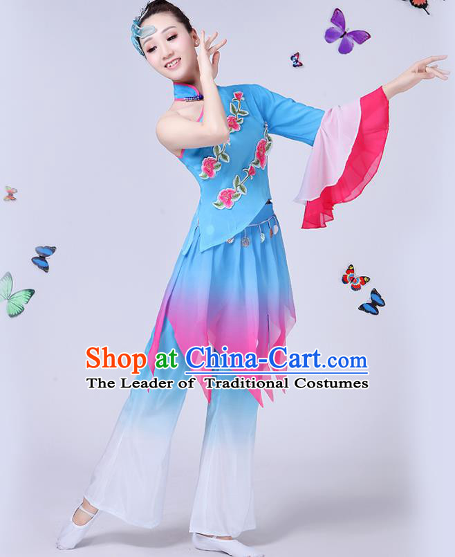 Traditional Chinese Classical Umbrella Dance Embroidered Blue Costume, China Yangko Folk Fan Dance Clothing for Women