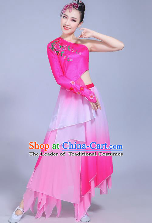 Traditional Chinese Classical Umbrella Dance Costume, China Yangko Folk Dance Yangge Pink Clothing for Women