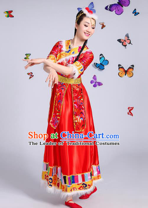 Traditional Chinese Mongol Nationality Dance Costume, Mongols Folk Dance Ethnic Minority Embroidery Red Dress Clothing for Women