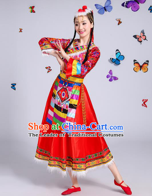 Chinese Traditional Mongol Nationality Dance Costume, Mongols Folk Dance Ethnic Minority Embroidery Red Dress Clothing for Women