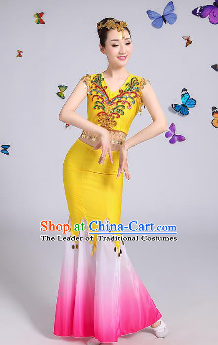 Traditional Chinese Dai Nationality Peacock Dance Costume, Folk Dance Ethnic Pavane Yellow Dress Clothing for Women