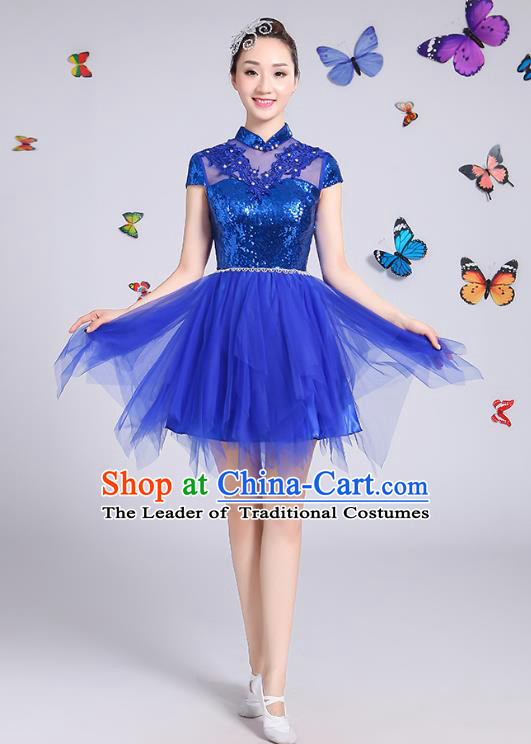 Traditional Chinese Modern Dance Opening Dance Clothing Chorus Blue Veil Bubble Dress Costume for Women