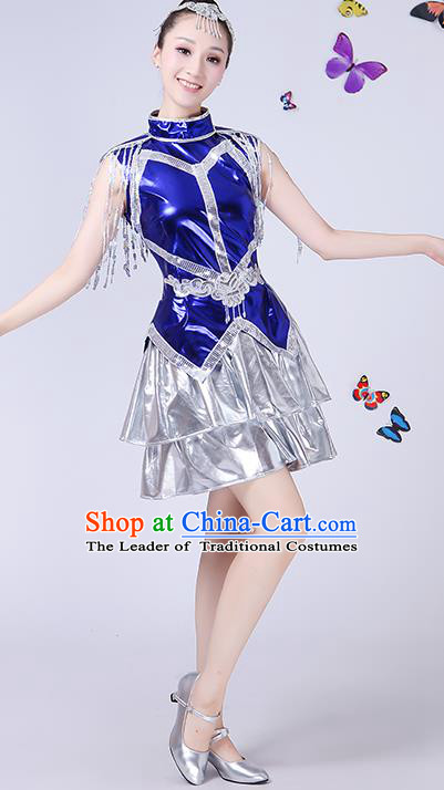 Traditional Chinese Modern Dance Opening Dance Jazz Dance Clothing Folk Dance Chorus Blue Costume for Women