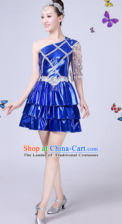 Traditional Chinese Modern Dance Opening Dance Jazz Dance Blue Dress Clothing Folk Dance Chorus Costume for Women