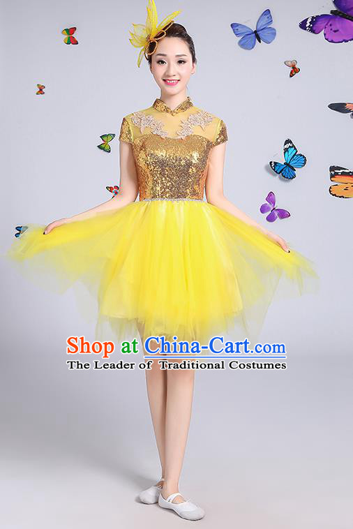 Traditional Chinese Modern Dance Opening Dance Clothing Chorus Yellow Veil Bubble Dress Costume for Women