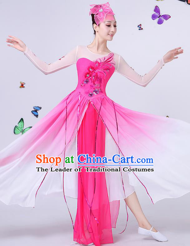 Traditional Chinese Modern Dance Opening Dance Clothing Chorus Folk Umbrella Dance Pink Costume for Women